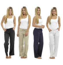 Womens Ladies Linen Trousers Full Length UK Size 10 12 14 16 18 20
