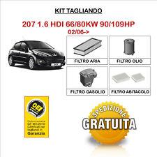 KIT TAGLIANDO 4 FILTRI TECNECO PEUGEOT 207 1.6 HDI 02/06->