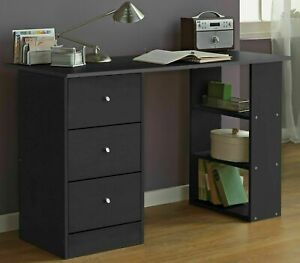 Home Malibu 3 Drawer Office Desk - Black