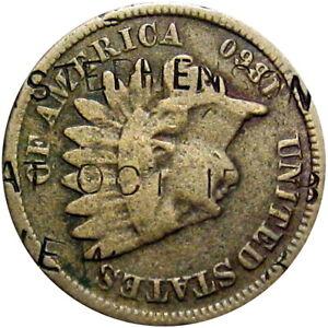 1870's Stephenson & Co New York City Counterstamp on 1860 Cent Street Car Maker