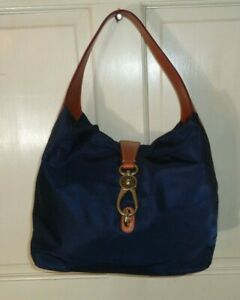 Dooney & Bourke Bag LOGO LOCK Biue Large Hobo Nylon Leather Unused Guaranteed