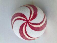 "Large 4"" Peppermint Swirl Ball Ornament Fake Candy Tree Beaded Xmas Decor Wreath"