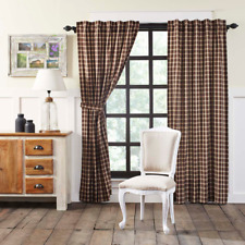 """FARMHOUSE COUNTRY PRIMITIVE RORY BROWN PLAID 84""""L PANEL CURTAINS"""