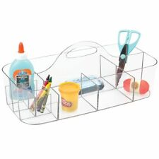 mDesign Plastic Art, Sewing, Craft Supplies Storage Caddy Tote, X-Large - Clear