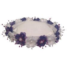 Wedding Silk Flower Band Halo Flower Girl Head Piece - Purple and white