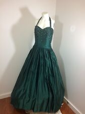 Vintage 40's 50's 60s Green Satin Ballgown Prom Dress