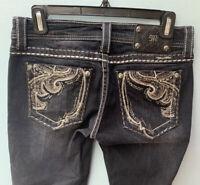 Miss Me Jeans 27 Dark Gray Embellished Skinny Paisley Rhinestone Low Rise Denim