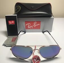 AUTHENTIC RAY-BAN AVIATOR RB3026 60MM GREEN MIRROR LENS GOLD FRAME SUNGLASSES
