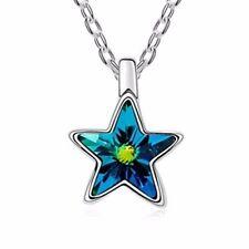18K Gold GP Swarovski Element Crystal Star Pendant Necklace Clean Dark Blue