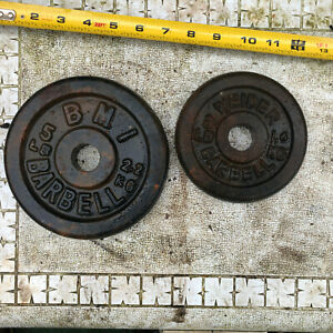 """Vintage cast iron 3 LB WEIDER & 5 lb BMI Round Free WEIGHTS 1.1"""" hole;  Fast S&H"""
