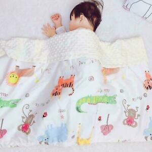 Baby Cotton & Velour Cute Animal Jungle Print Large Reversible Cot Pram Blanket
