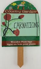 COUNTRY GARDEN WOODEN PLANT SIGN CARNATIONS FLOWER HAND PAINTED CARNATION