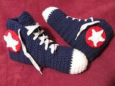 Crochet High Top Sneaker Slippers/Socks in Teen/Women/Men Blue w/Red - Handmade