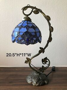 """Enjoy Tiffany Style Table Lamp Blue Stained Glass Vintage 20.5""""H*11""""W"""