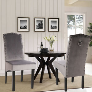 2PCS Velvet Dining Chair with Ring Knocker High Back Studded Kitchen Chairs Grey