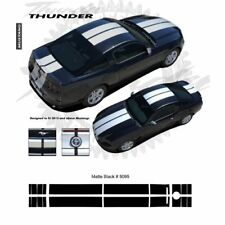 Ford Mustang 2013+ Bumper to Bumper Rally Stripes Graphic Kit - Matte Black
