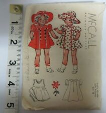 Vtg 1930's McCall Miniature DOLL CLOTHES Sewing Pattern SLIP PANTIES DRESS HAT