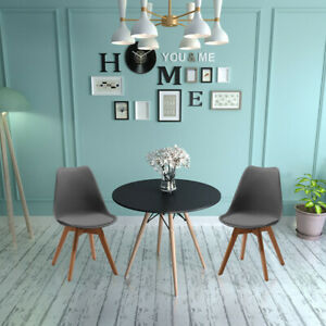 New Round Dining Table and 2 Chairs Padded Set for Kitchen Home Furniture Grey