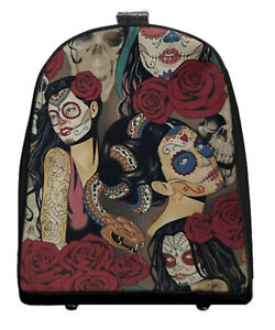 """US HANDMADE Mini Backpack with """"VINTAGE NOCTURNA 2""""  Pattern Shiny Black Side"""