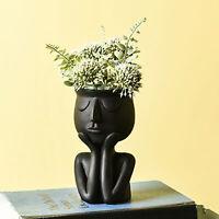 Human Think Face Ceramic Home Plants Flower Pot Vase Planter Tabletop Decoration