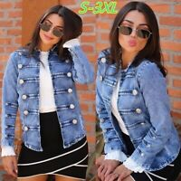 Women Casual Denim Jackets Vintage Style Blue Jean Jacket Short Coat Plus Size