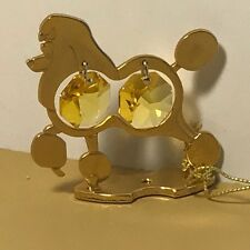 CRYSTAL DELIGHT MASCOT AUSTRIA 24K GOLD PLATED ANIMAL DOG FIGURINE POODLE YELLOW