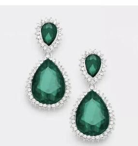 "2.25"" Green Emerald Long Crystal Pageant Bridal Earrings Formal Rhinestone"