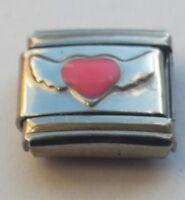 Pink Love HEART ANGEL WINGS 9mm Italian Charms Fits Classic Bracelet Link