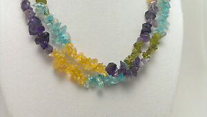 """*Authentic* India Multi Gemstone Chip Bead Crystal 34"""" Necklace #2"""