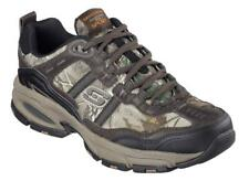 SKECHERS Men's Leather Sneakers in Brown Camouflage, Extra Wide 3E