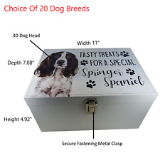 Springer Spaniel Dog Treats Food Storage Container Holder Biscuits Toy Box Wood