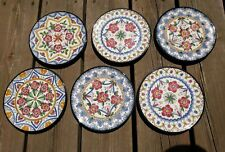 "VTG CERAMAR DECORATIVE HANGING WALL PLATE MADE IN SPAIN HAND PAINTED 7"" SET OF 6"