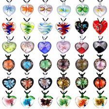 New Fashion Handmade Lampwork Murano Glass Heart Flower Pendant Necklace Jewelry
