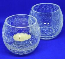"Pair of Crackle Glass Tea Light Votive Holder, Round, Clear 3""h x 3.5""d"