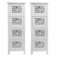 Set of 2 Slim White Flowers 4 Chest Of Drawer Bedside Table Storage Unit Cabinet