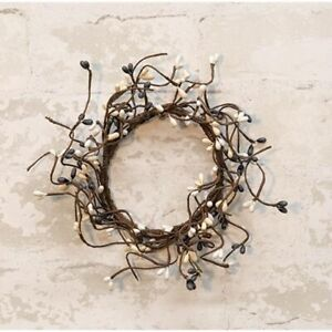 "Pip Berry Candle Ring Small Wreath 3.5"" Grey White Cream Country Primitive"