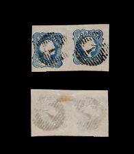 1855 Portugal D. Pedro V 25 reis. #6 USED PAIR of stamps.