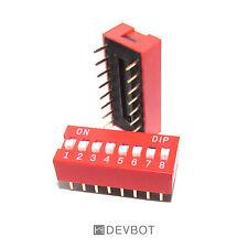 Interrupteurs DIP switch 16 Pins 8 positions Rouge. DIY Arduino Pi. Lot de 2 pcs