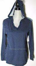 New Nautica Hoodie Top Blue with White Dots Knit Long Sleeve V-Neck Lace Medium