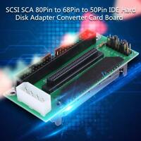SCSI SCA 80Pin to 68Pin to 50Pin IDE Hard Disk Adapter Converter Card Board US