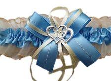 XXL Strumpfband Braut blau creme mit Schleife Herzchen Silbernaht Hochzeit Neu