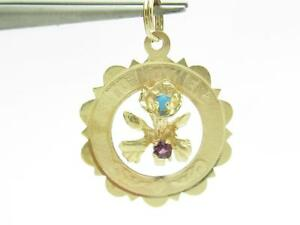 14k Yellow Gold & Gemstones Vintage Estate To Mother Design Disk Charm Pendant