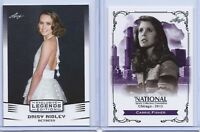 DAISY RIDLEY (REY) & CARRIE FISHER (LEIA) LEAF EXCLUSIVE 2 CARD LOT! STAR WARS!