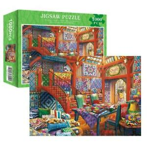 Jigsaw Puzzle 1000 Piece Quilt Shop Learning Toy Game For Adults C5A2 Gift H8P9