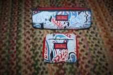 Lot Vera Bradley Seaside Nautical Port Zip Around wallet and cosmetic round case