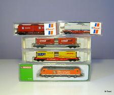Scala N - Convoglio portacontainer con Loco Linea + 4 vagoni con container misti