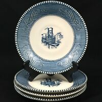 Set of 4 VTG Saucer Plates by Royal China Currier & Ives Blue Steamboat USA