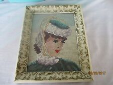 Vintage Gorgeous CROSS STITCH Framed Picture NEEDLEPOINT Woman Thinking