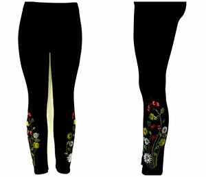 PLUS SIZE Full Length Leggings Hand Embellished Rhinestone Lady Bug Floral