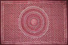 Handmade Cotton Batik Tulsi Leaf Mandala Tapestry Tablecloth Spread Red Queen